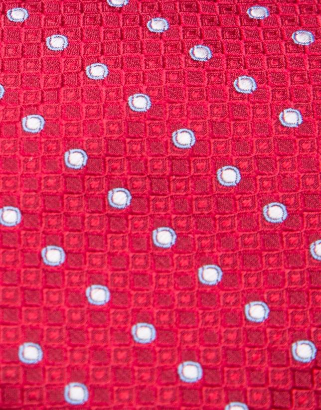 Corbata de seda roja con círculos en tonos azul/gris perla