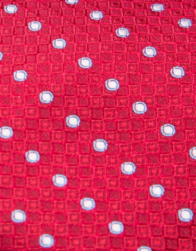 Red silk tie with blue/pearl gray circles