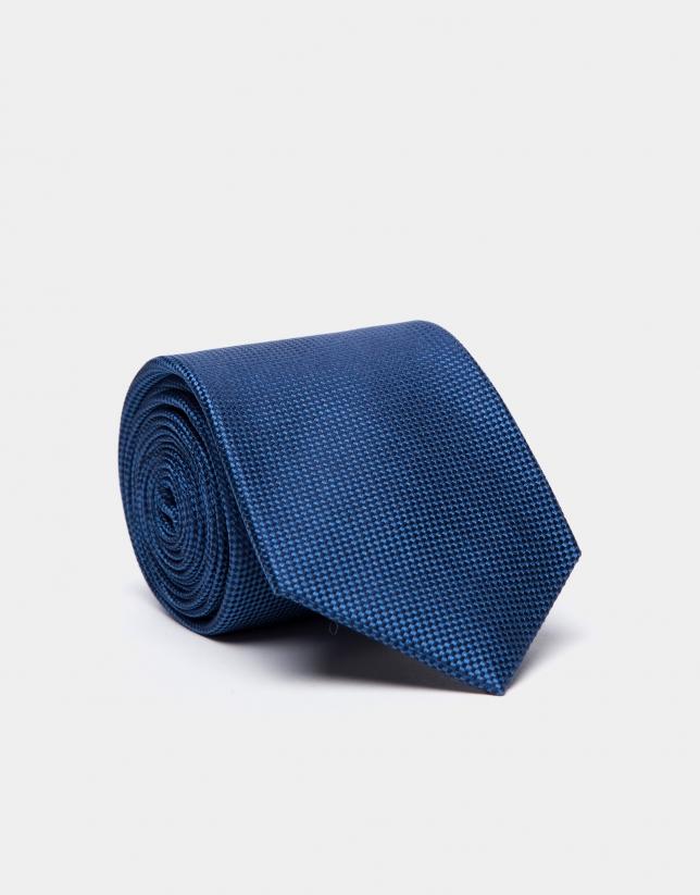 Cravate en soie faux uni bleu roi