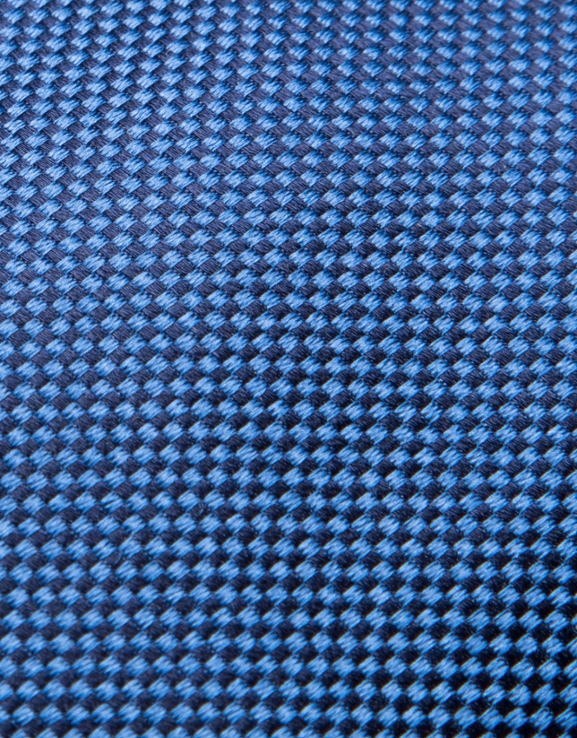 Blue fake plain silk tie