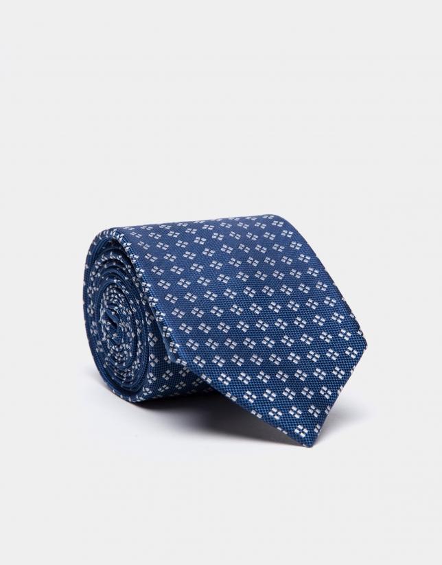 Blue silk tie with pearl gray jacquard geometric print