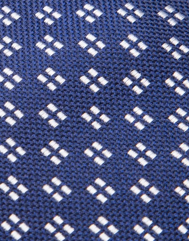 Cravate en soie bleu marine avec jacquard géométrique en gris perlé