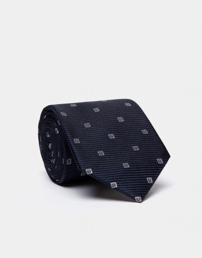 Cravate en soie bleu marine/noir et jacquard géométrique bleu ciel