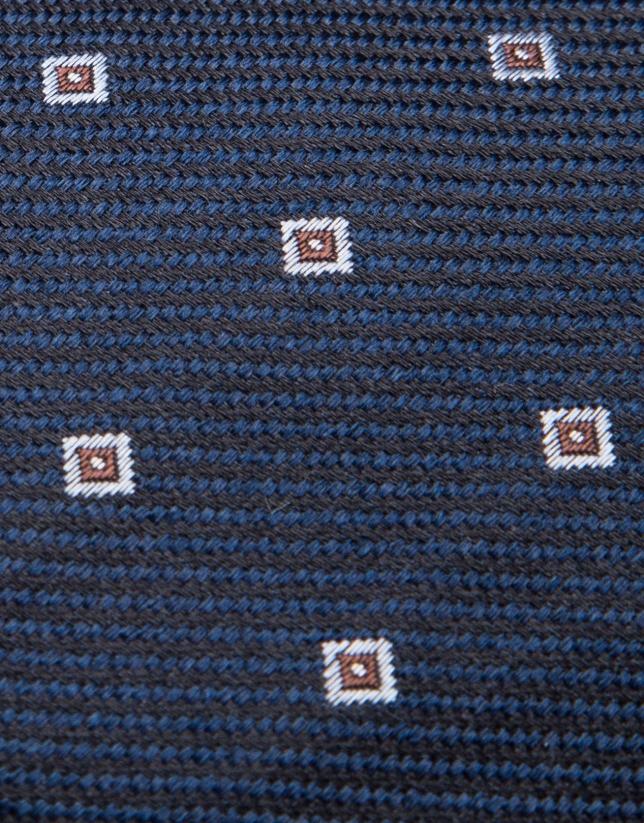 Corbata de seda marino/negro y jacquard geométrico celeste