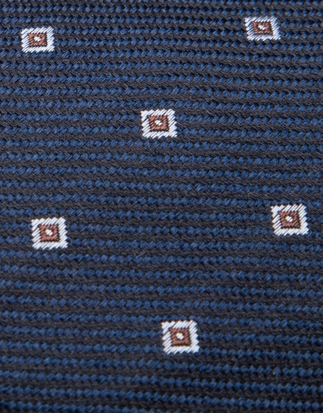 Navy blue/black silk tie with light blue geometric jacquard print