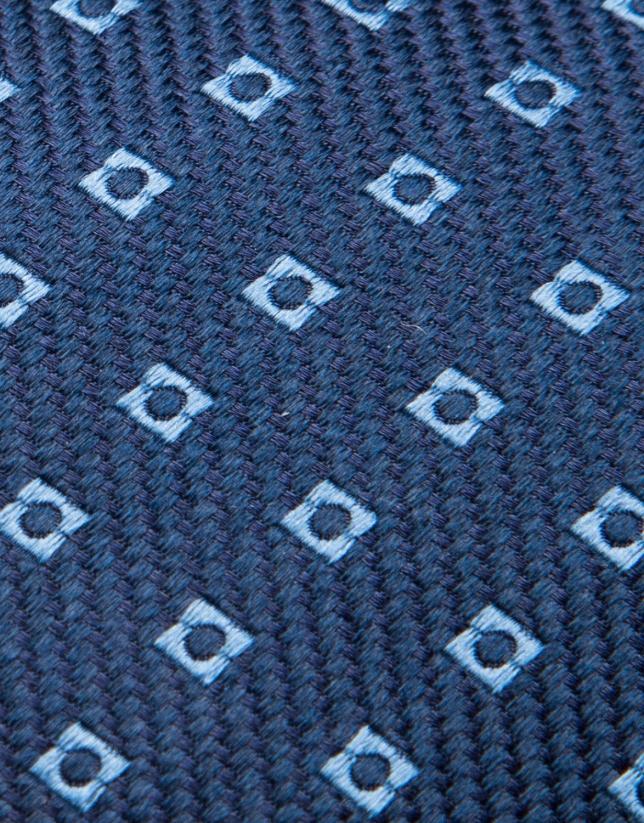 Cravate en soie bleu foncé avec jacquard géométrique bleu ciel