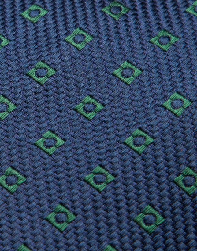 Navy blue silk tie with green geometric jacquard