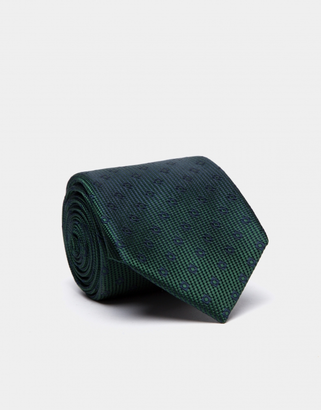 Green silk tie with navy blue geometric checked jacquard