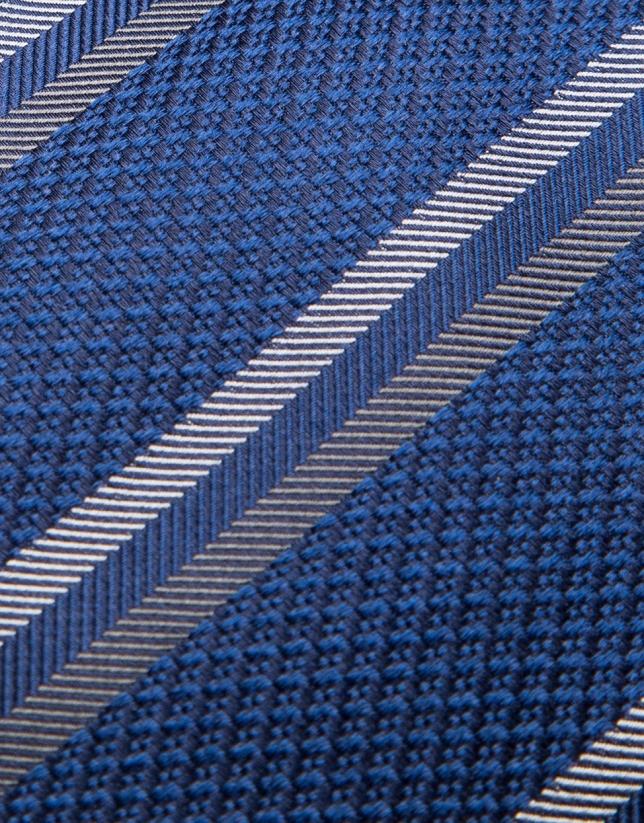 Navy blue silk tie with beige/dark mink-colored stripes