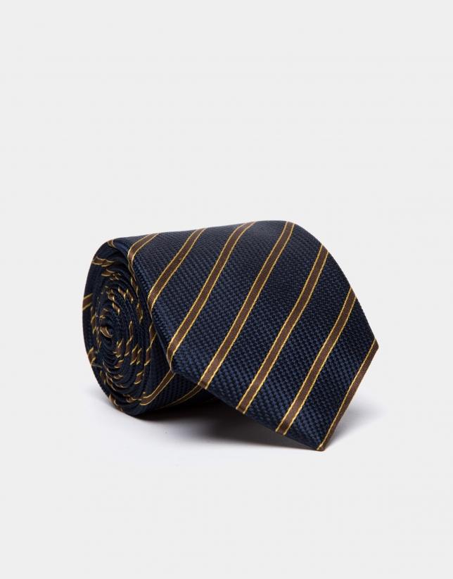 Corbata de seda azul oscuro y rayas marrón/dorado