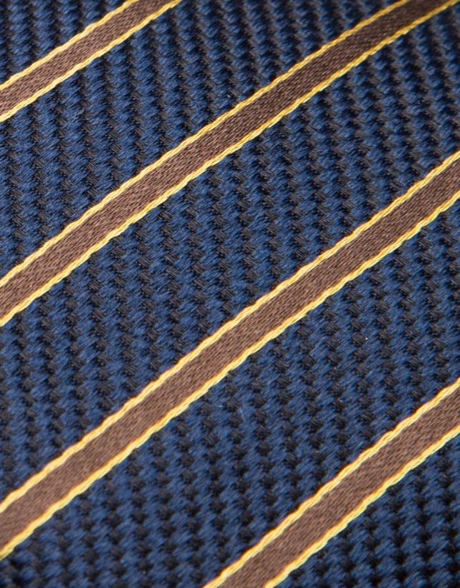 Dark blue silk tie with brown/gold stripes