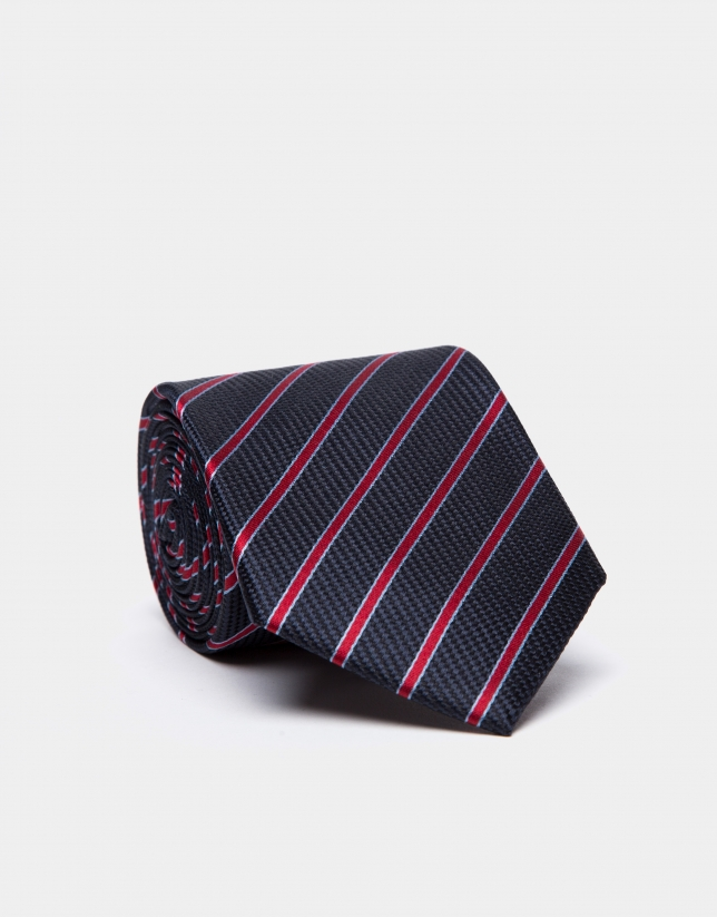 Corbata de seda azul con rayas celeste/rojo