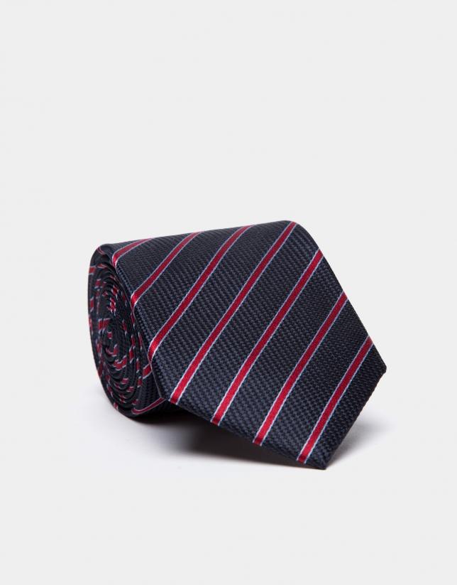 Cravate en soie bleue avec des rayures en bleu ciel/rouge