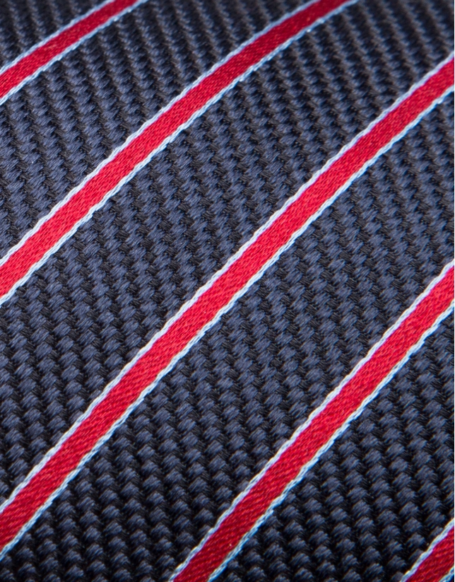 Blue silk tie with light blue/red stripes