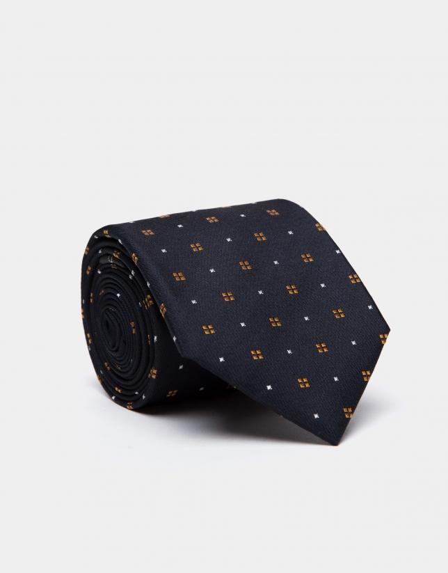 Corbata de seda azul oscuro con jacquard geométrico dorado/crudo