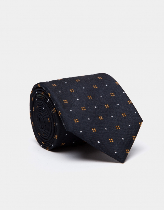 Dark blue silk tie with gold/beige geometric jacquard