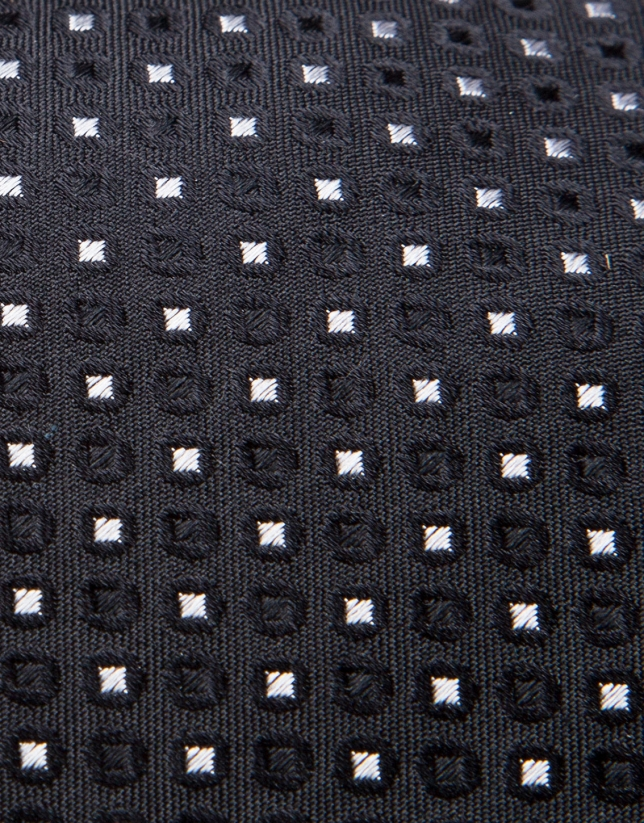 Black silk tie with silver geometric jacquard