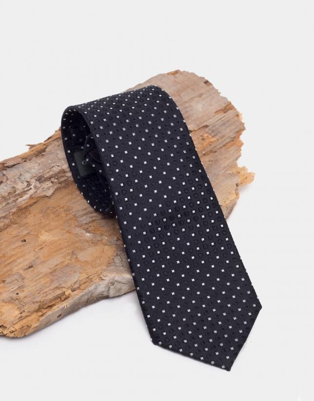 Corbata de seda negra con jacquard geométrico plata