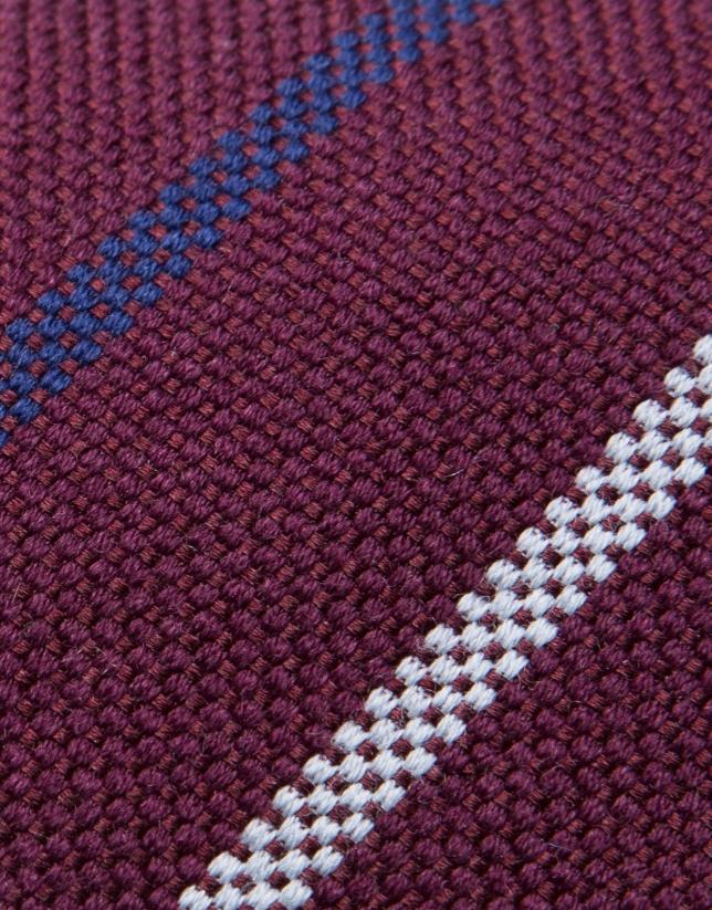 Corbata de lana/seda granate con rayas plata/azulón