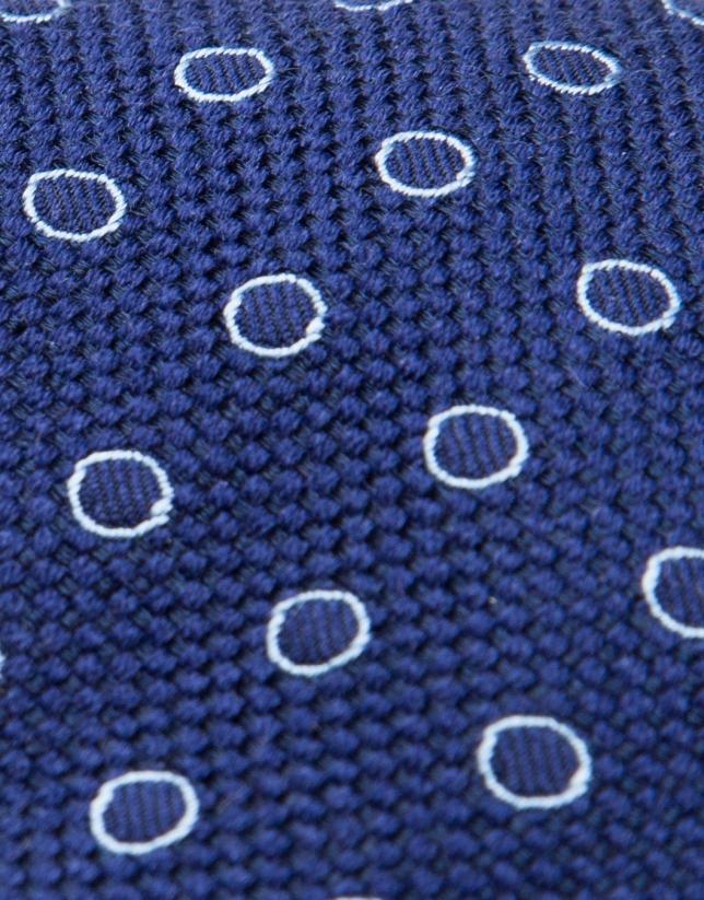 Blue silk/wool tie with light blue dots
