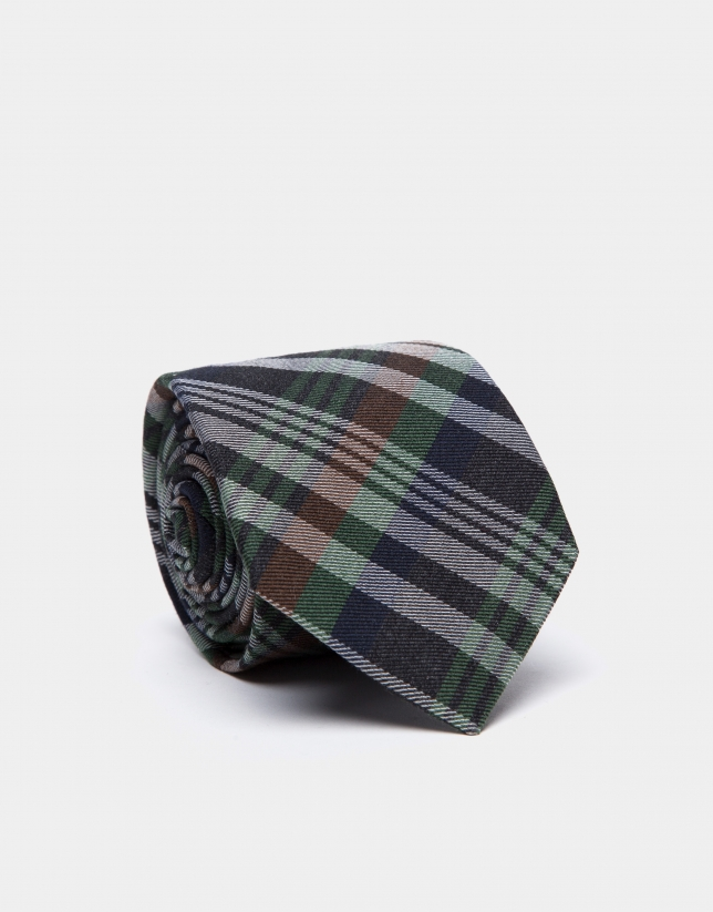 Navy blue/green/brown/beige checked silk and wool tie