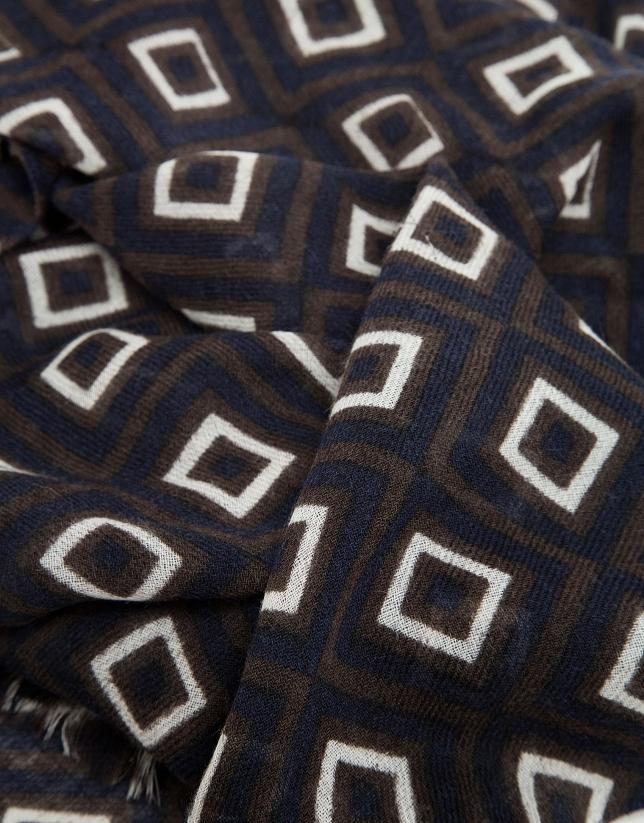 Etole imprimé rétro dans les tons marron, bleu marine et écrus