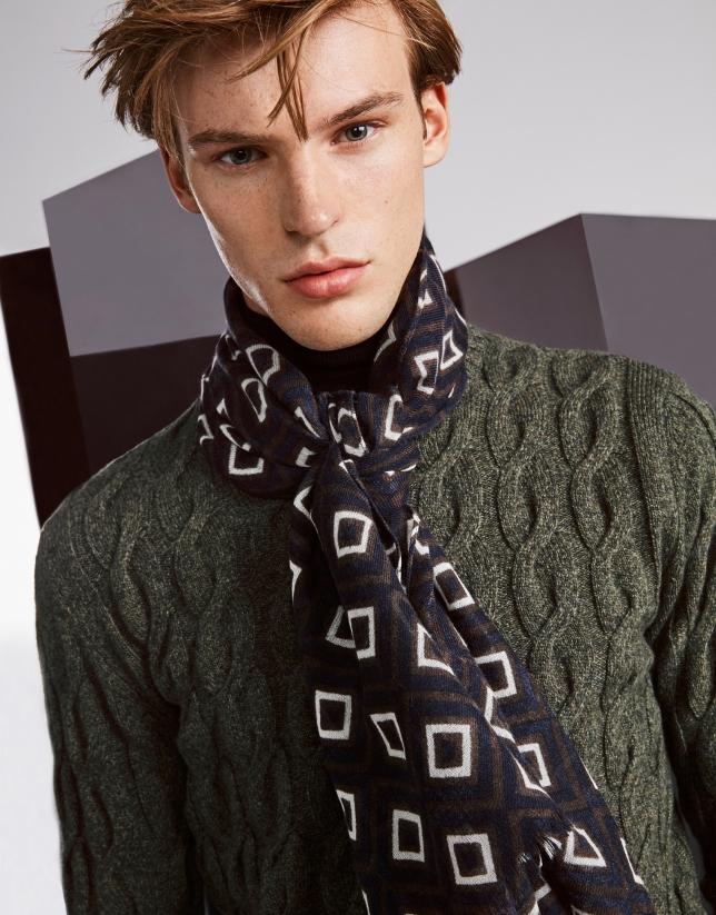 Brown, navy blue and beige retro print foulard