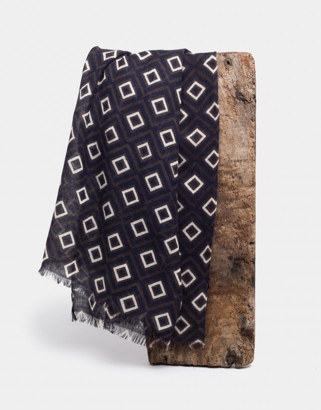 Fular estampado retro en tonos marrón, marino y crudo
