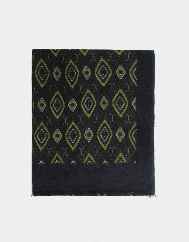Yellow, brown and navy blue ethnic print foulard