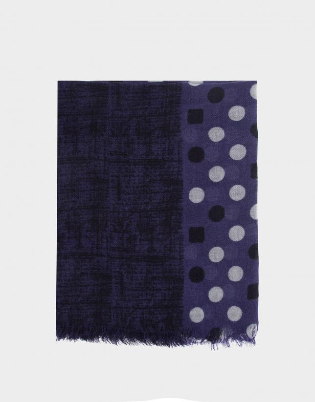 Blue double print foulard