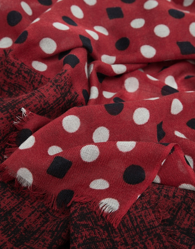 Red double print foulard