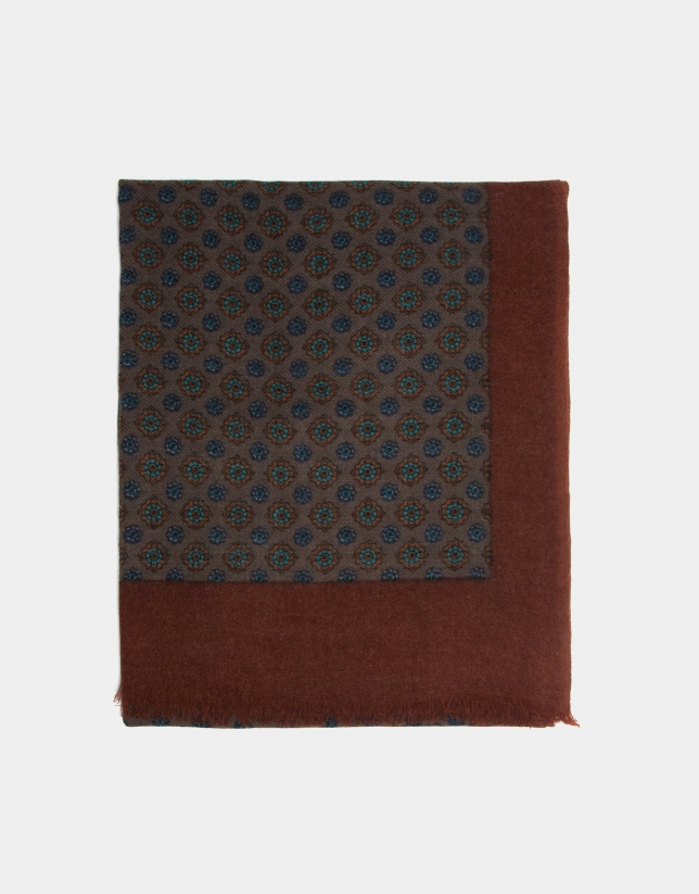 Mink-colored, blue and burnt orange ethnic print foulard