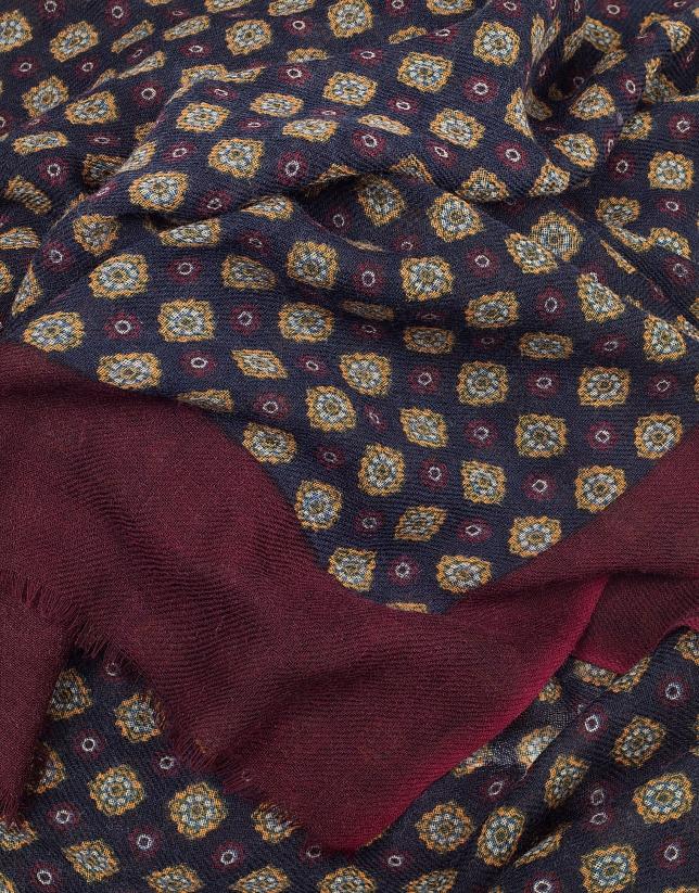 Gold, burgundy and navy blue ethnic print foulard