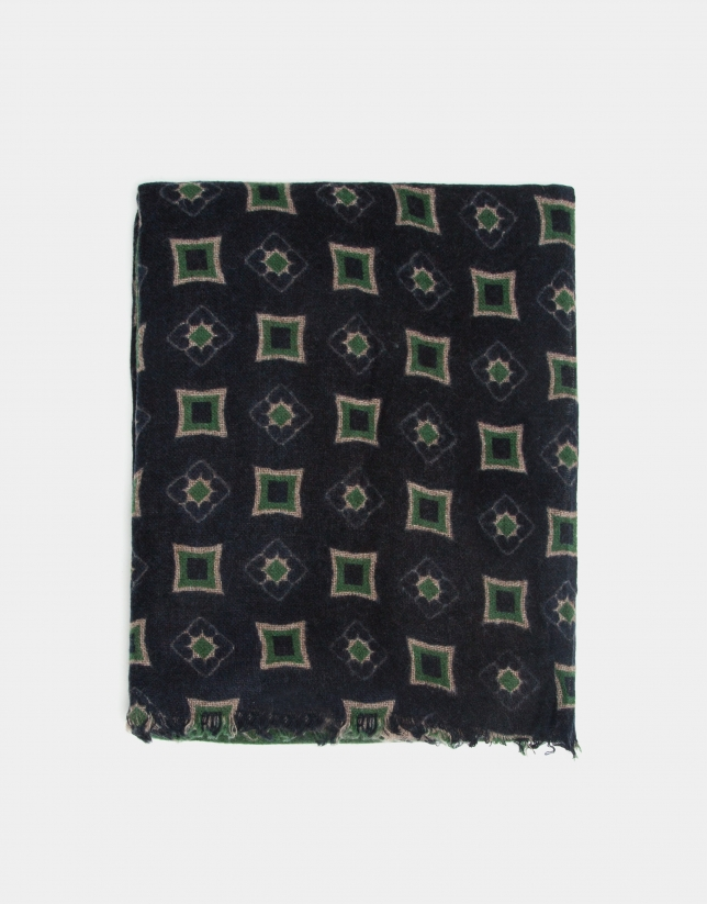 Navy blue, green and mink paneled print foulard