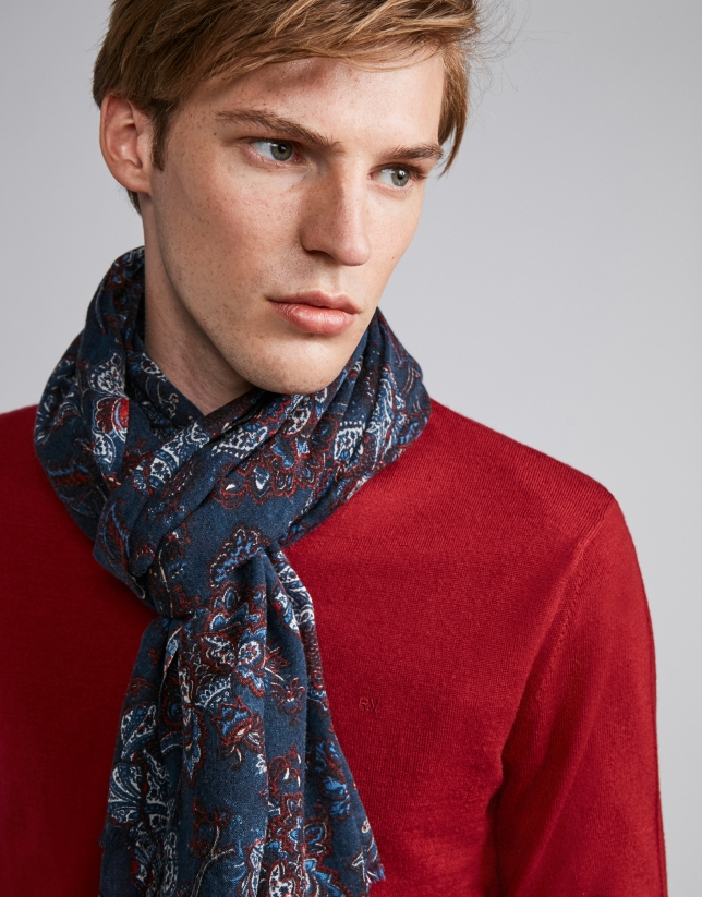 Red, white and blue floral print foulard