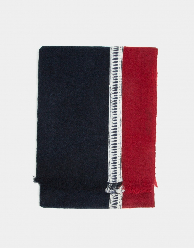 Navy blue foulard with ethnic details