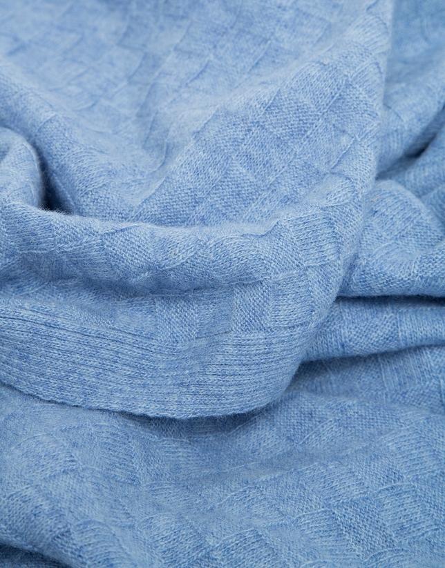 Echarpe en laine structurée de carreaux en bleu clair