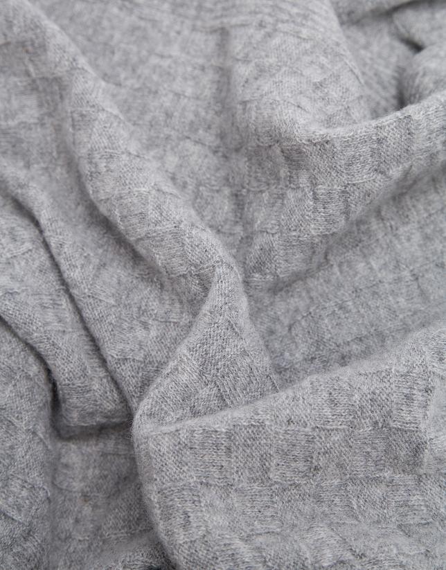 Echarpe en laine structurée de carreaux en gris clair