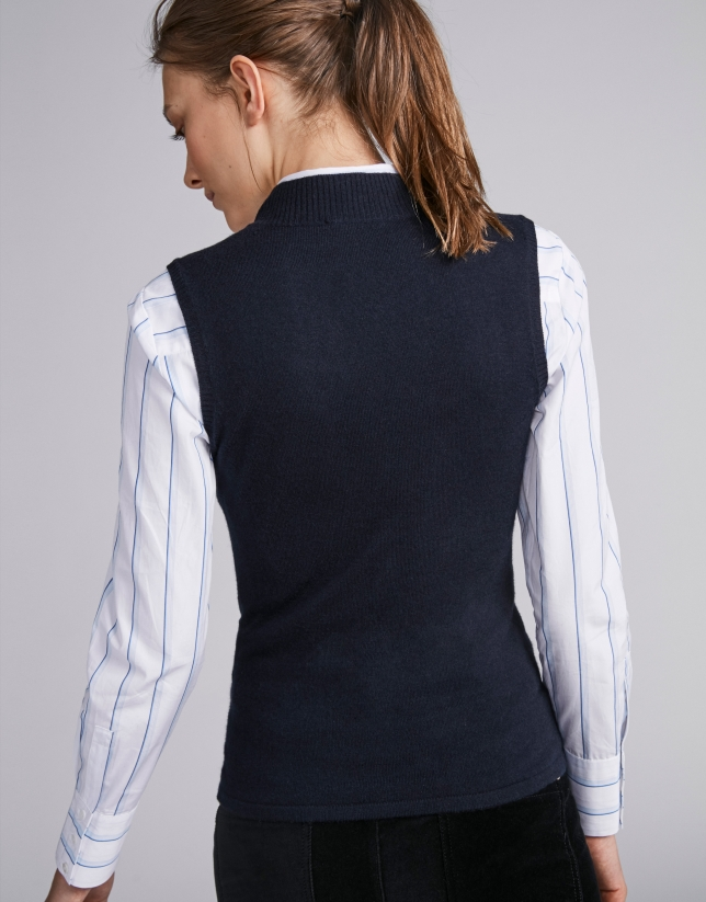 Navy blue knit vest