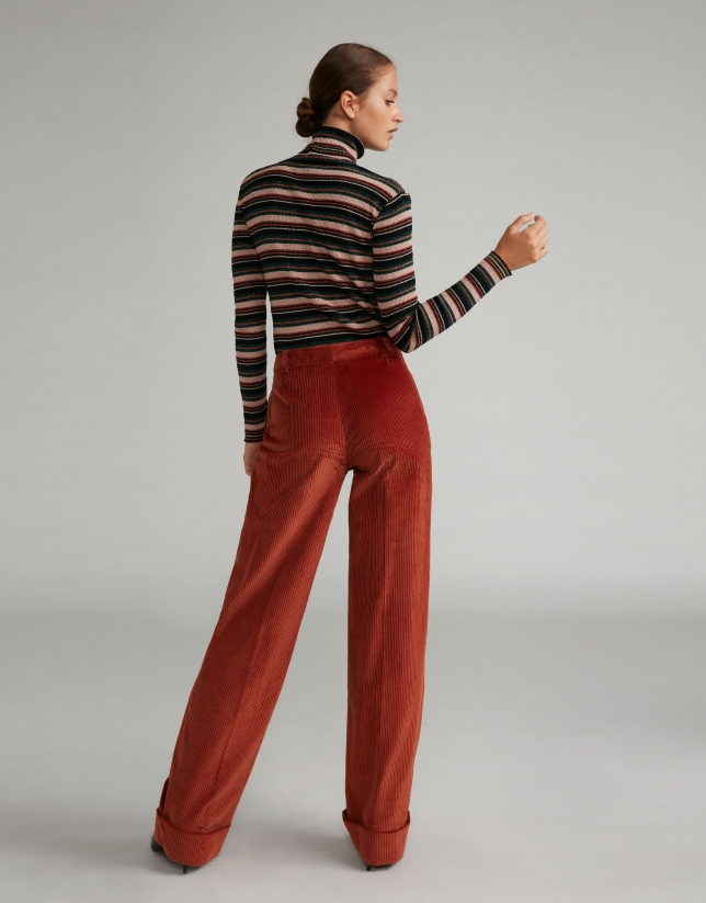 Terra cotta straight corduroy pants