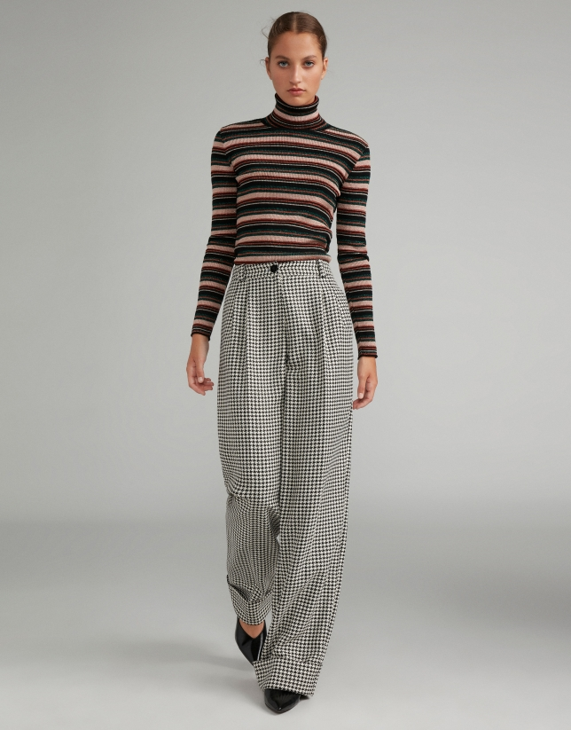 Houndstooth straight pants