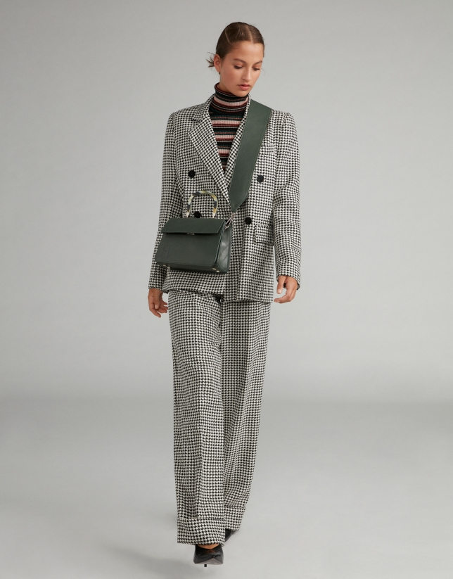 Houndstooth double-breasted suit jacket