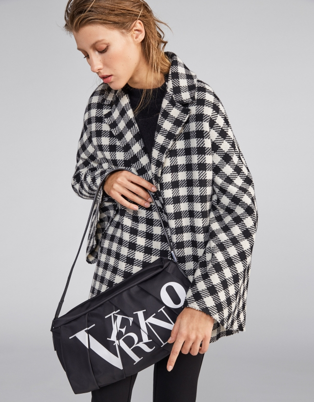 Black and white checked wool cape coat