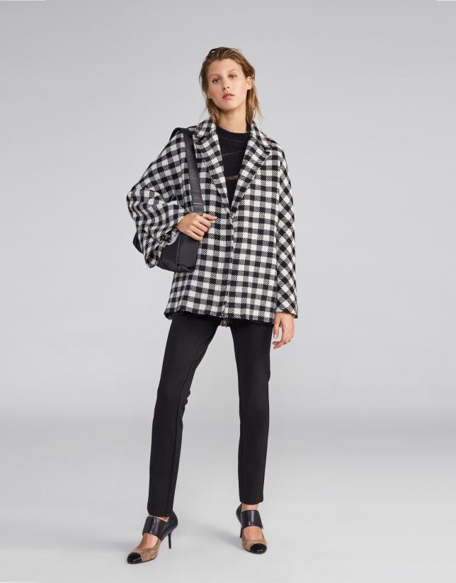 Manteau cape en laine pied de poule