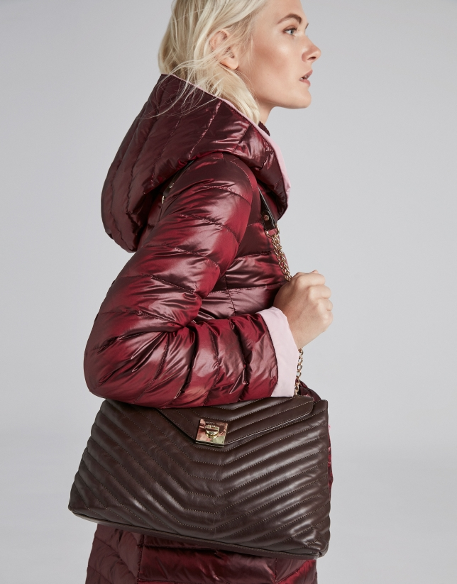 Burgundy reversible quilted long parka