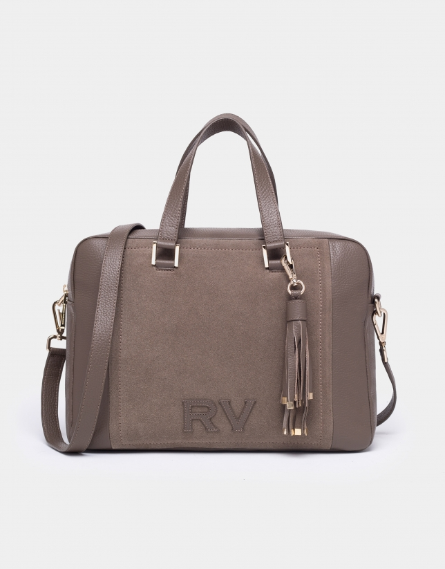 Taupe leather and split leather Louvre bowling bag