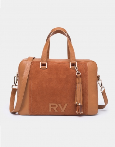 Tan leather and split leather Louvre bowling bag