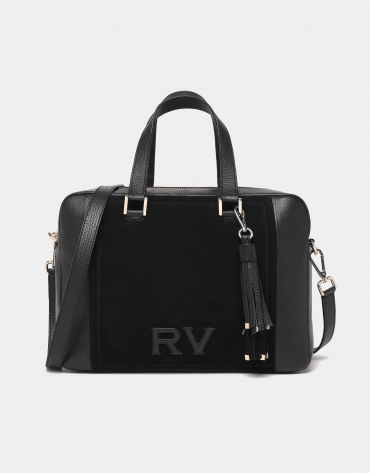 Black leather and split leather Louvre bowling bag