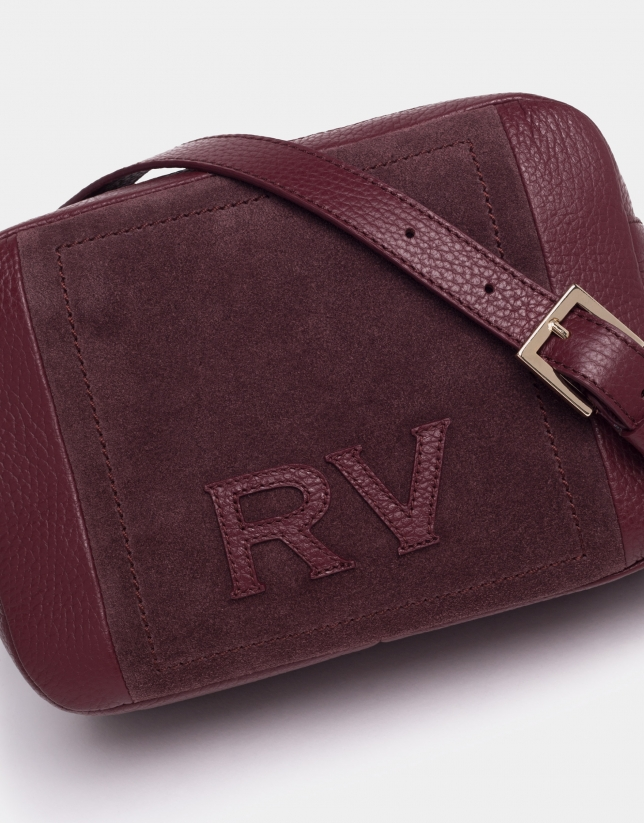 Burgundy leather and split leather Louvre shoulder bag