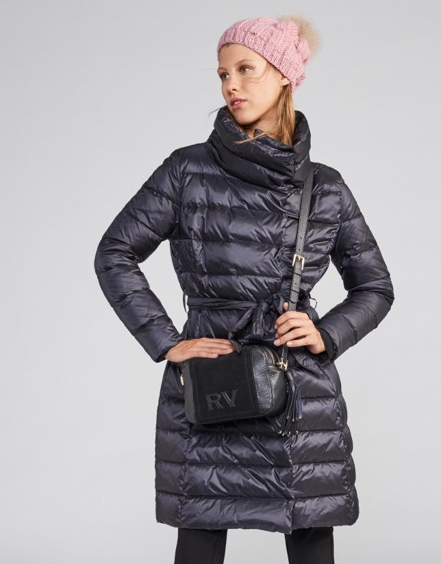 Black leather and split leather Louvre shoulder bag